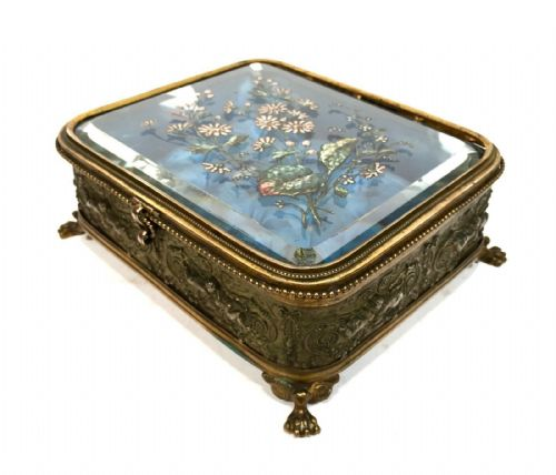 Antique Rococo Revival 19th Century Ladies Glass & Gilt Jewellery Casket / Box